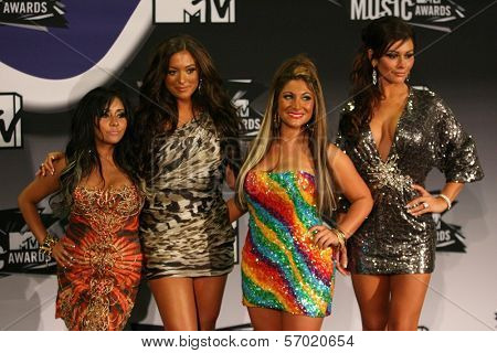 Nicole 'Snookie' Polizzi, Sammi 'Sweetheart' Giancola, Deena Nicole Cortese, Jenni 'JWoww' Farley in the 2011 MTV Video Music Awards Press Room, Nokia Theatre LA Live, Los Angeles, CA. 08-28-11