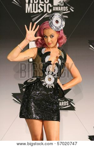 Katy Perry in the 2011 MTV Video Music Awards Press Room, Nokia Theatre LA Live, Los Angeles, CA. 08-28-11