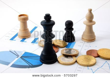 Chess Man Over Business Chart