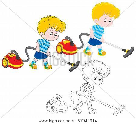 Boy with a vacuum cleaner