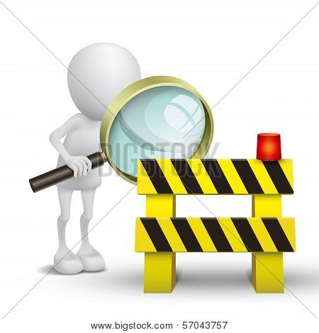 3D Person Watching A Roadblock With A Magnifying Glass