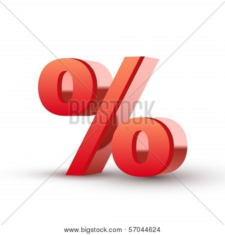3d Red Percentage Symbol