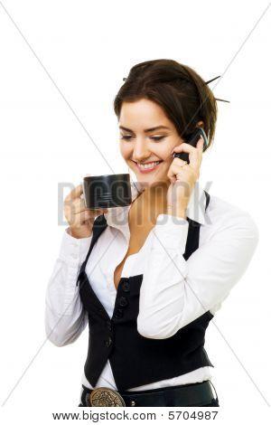 Business Woman Has Coffee Break