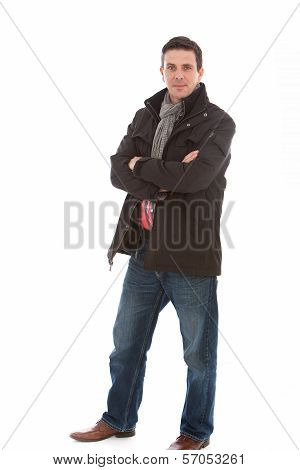 Smiling Man In Casual Winter Fashion