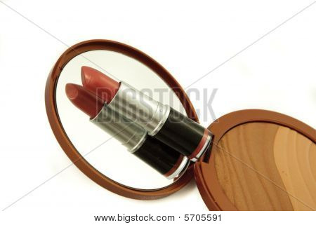 Lipstick with mirror and powder box
