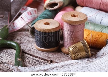 Tools For Sewing: Thread, Scissors, Tape, Needle, Thimble