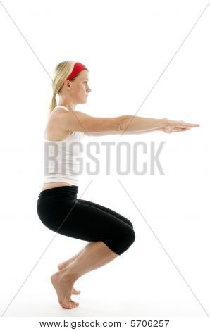 yoga awkward pose illustrated by attractive middle age fitness trainer woman exercising and stretching poster