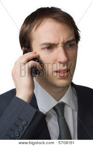 Young Professional, Worried On The Phone