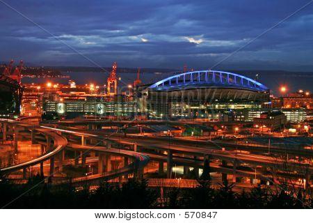 Seattle Stadium At Night