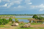 Peru Peruvian Amazonas landscape. The photo present typical indian tribes settlement in the Amazon poster