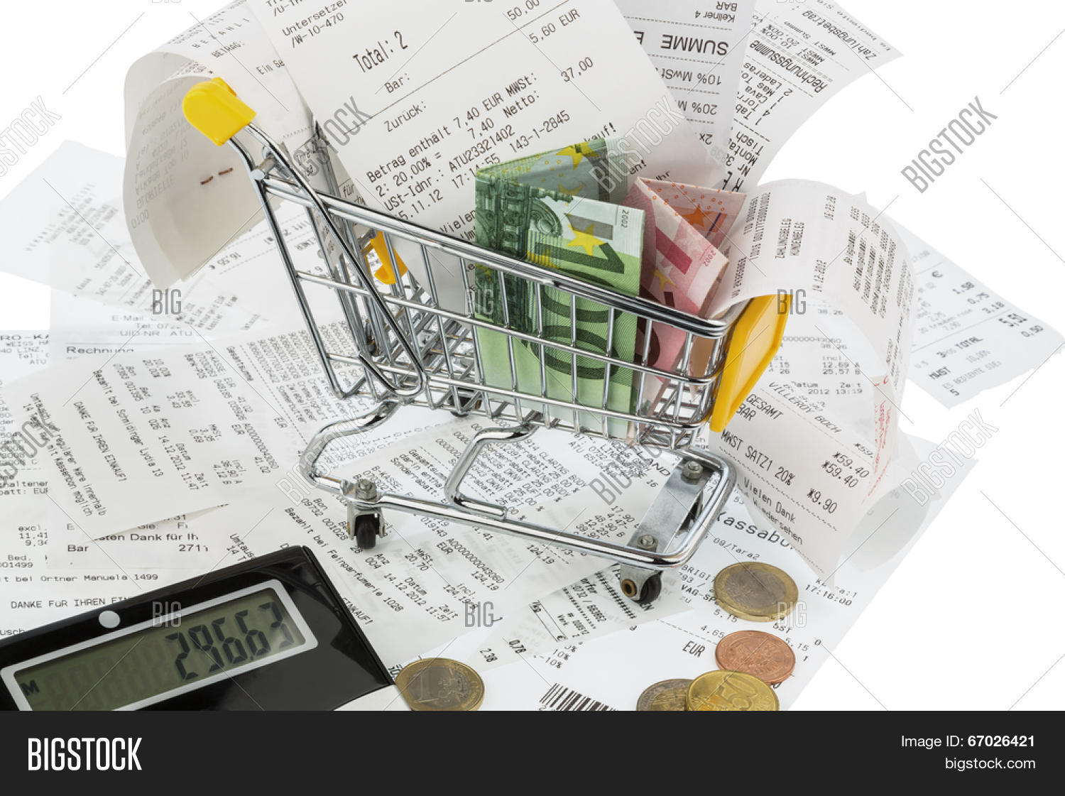 Shopping Cart Bills Image Photo Free Trial Bigstock Diagram And Receipts Symbol For Purchasing Power Consumption Inflation