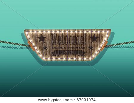 wooden sign on the chains / vector background 1