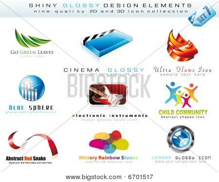 Abstract 2D and 3D Design Element Collection with colorful Shiny Icons poster