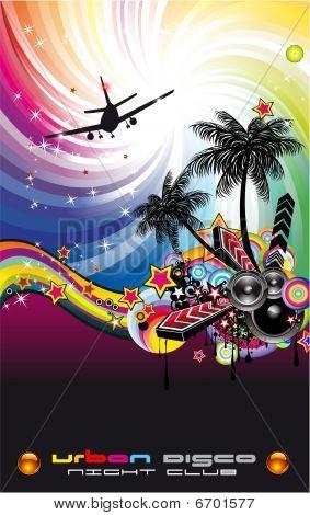Grunge Style Disco Flyer Background