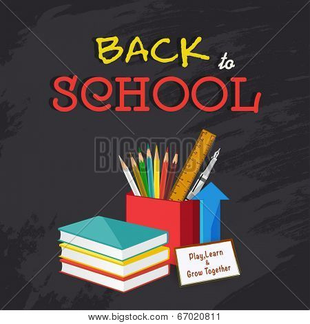 Back to School concept with notebooks and stationery on black background.  poster