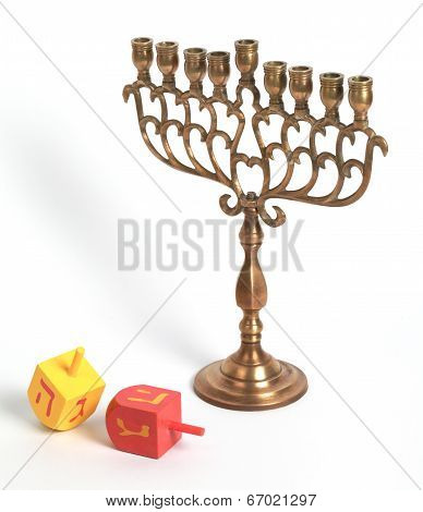 Hanukkah Menora And Dreidles, Isolated