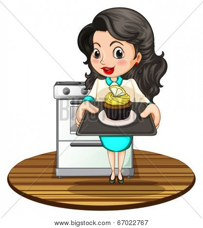 Illustration of a woman baking a cupcake on a white background