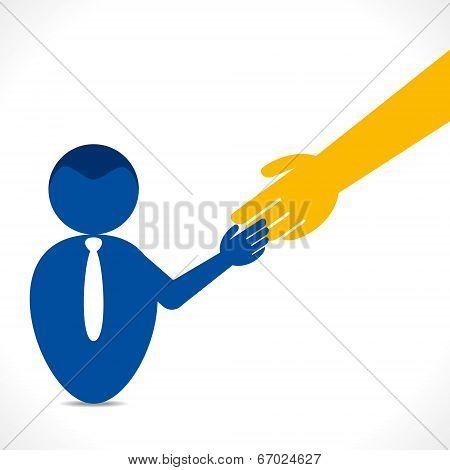 men handshake with big hand background stock vector