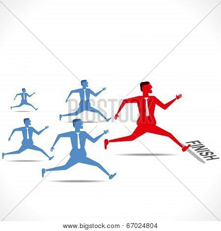 businessmen run , competition concept vector