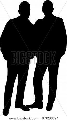 standing men silhouette vector