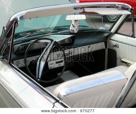 Classic Car With Dashboard Dice