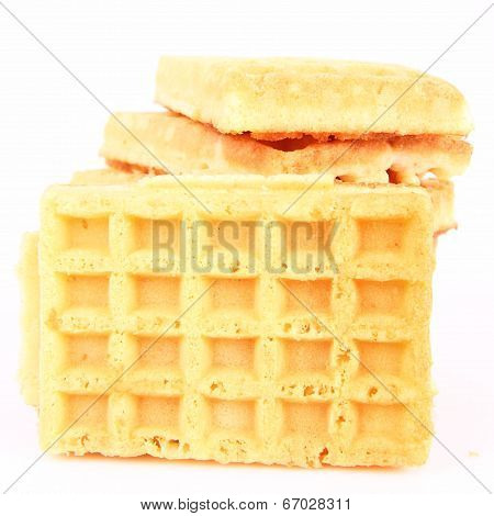 Pile of waffles on a white background