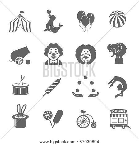 Circus graphic pictograms of juggling sealion acrobat stunt collection black icons set isolated vector illustration poster