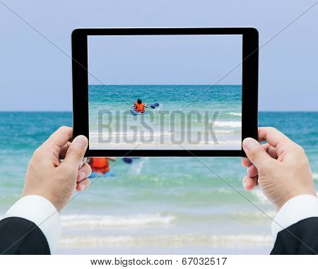 Businessman Hands Tablet Taking Pictures Canoe