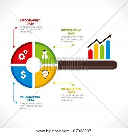 creative business key info-graphics design for present business related information concept vector