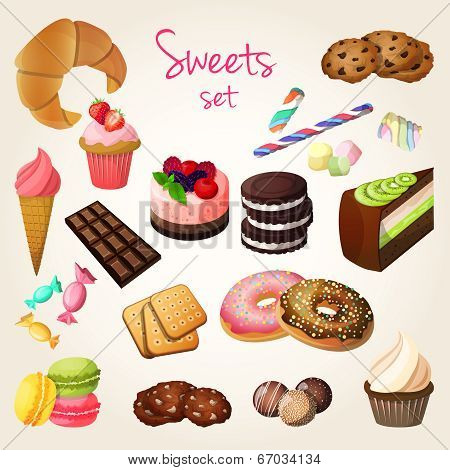 Sweets and pastry set