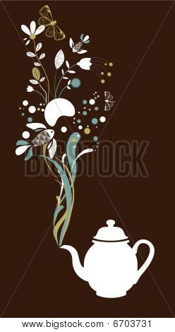 Tea pot fantasy on brown