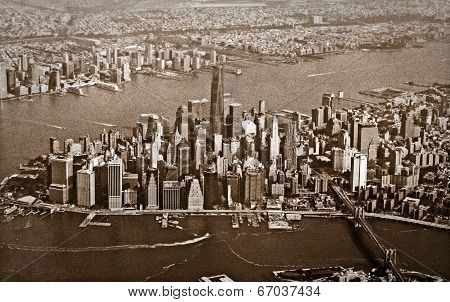 Aerial View Of New York City Old Grainy Sepia Tone