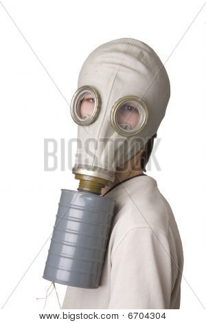 Young boy with the old Gas Mask