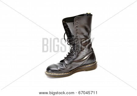 Mid-calf 14 Eyelet Black Lace-up Boot