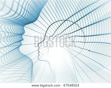 Geometry of Soul series. Design composed of profile lines of human head as a metaphor on the subject of education science technology and graphic design poster