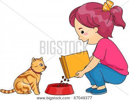 Illustration of a Little Girl Feeding Her Cat