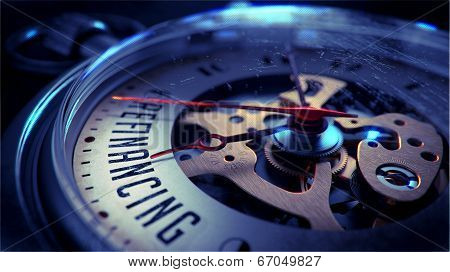 Refinancing on Pocket Watch Face. Time Concept.