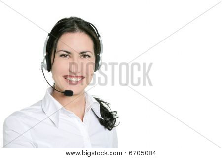 Brunette Beautiful Businesswoman And Headset