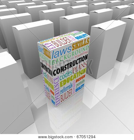 Construction words on a box for you to choose the best licensed builder or contractor