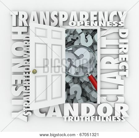Transparency door opening to show a magnifying glass openness, candor, truthfulness and honesty