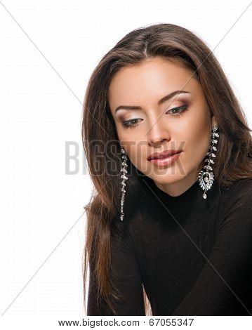 Model face, lips make-up, ear ring