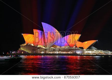 Sydney Opera House In Orange And Purple Colours