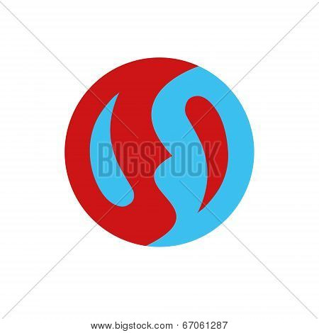 Symbol similar to yin-yan, simple and flat, red-blue. Vector. poster