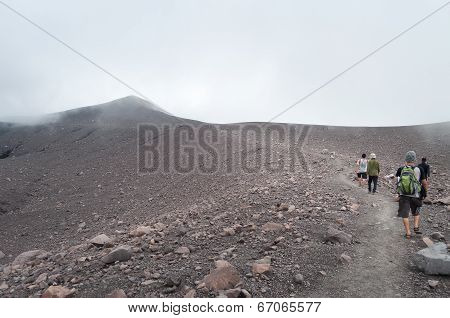 Indonesian Tourists Go To The Top Of Volcano Merapi