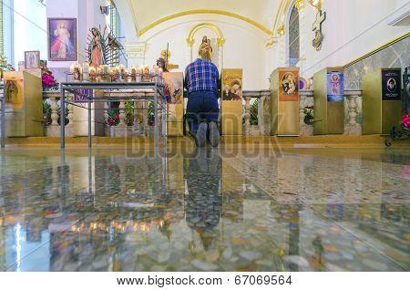Man Praying In Catedral De Nuestra Senora De Guadalupe, Tijuana, Mexico