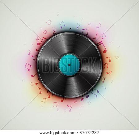 Vinyl record music background, vector illustration. Eps 10 poster