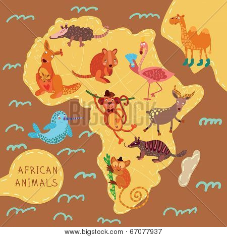 Map Of Africa With Cute Animals In Vector. African Animals Set