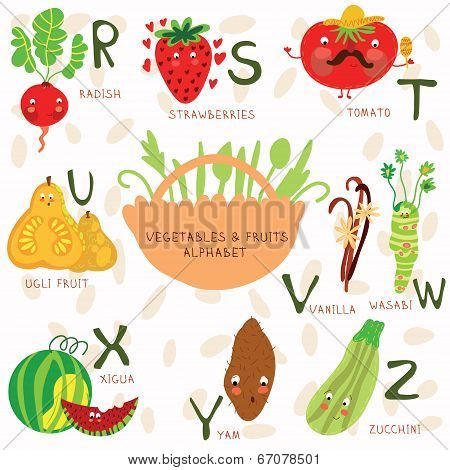 Very Cute Alphabet Of Fruit And Vegetables. R, S,t, U, V, W ,x,y,z Letters