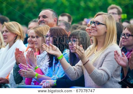 MOSCOW - JUNE 14: People cheering at open-air concert on XI International Jazz Festival