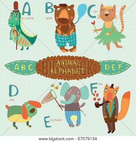 Very Cute Alphabet.a, B, C, D, E, F Letters. Alligator, Bear, Cat, Dog, Elephant, Fox.alphabet Desig
